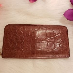 Fossil brown alligator leather wallet